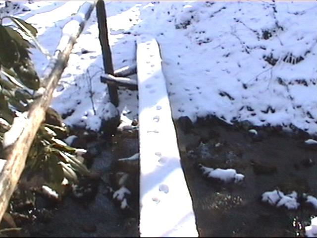 {footbridge with snow}